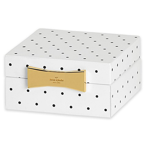 kate spade new york Garden Drive™ Square Jewelry Box in Black Dot