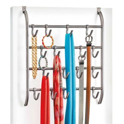 Over-the-Door Metal Hanging Hook Rack Accessory Organizer in Platinum