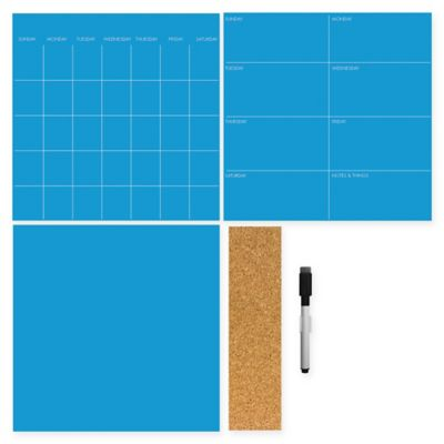 WallPops!® Dry-Erase 3-Piece Calendar/Weekly Planner/Message Board Set in Neon Pacific Blue
