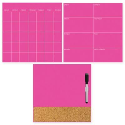 Dry-Erase 3-Piece Calendar/Weekly Planner/Message Board Set in Neon Pink