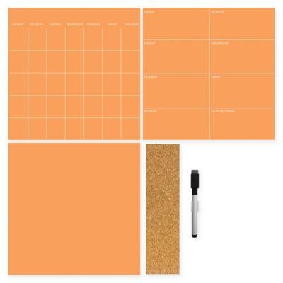 Dry-Erase 3-Piece Calendar/Weekly Planner/Notes Set in Tangerine