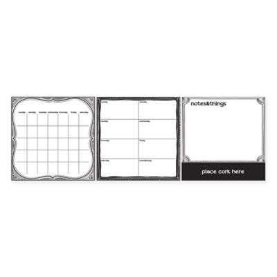 Dry-Erase 3-Piece Calendar/Weekly Planner/Message Board Set with Cork in White/Grey/Black