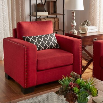 Verona Home Darby Nailhead Accent Chair in Red
