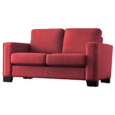 Verona Home Darby Nailhead Accent Loveseat in Red