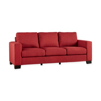Verona Home Darby Nailhead Accent Sofa in Red