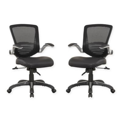 Manhattan Comfort Ergonomic Walden Faux Leather Office Chairs in Black (Set of 2)