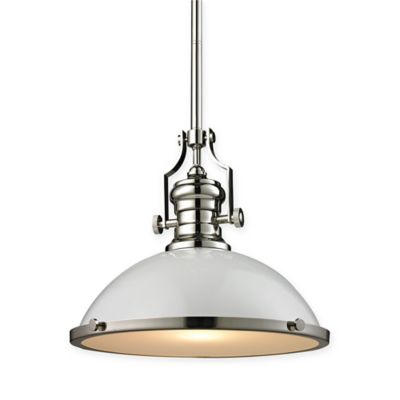 ELK Lighting 17-Inch 1-Light Pendant Light in Polished Nickel with White Glass Shade