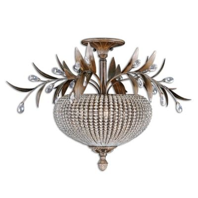 Uttermost Cristal de Lisbon 3-Light Semi-Flush Mount Ceiling Fixture in Gold