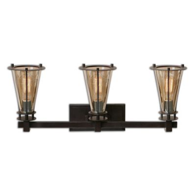 Uttermost Frisco 3-Light Rustic Vanity Light in Cognac