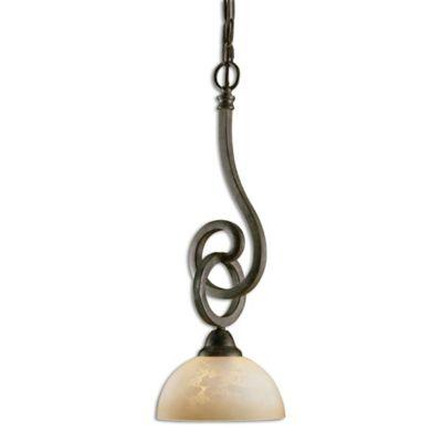 Uttermost Legato 1-Light Scavo Glass Mini Pendant in Chestnut