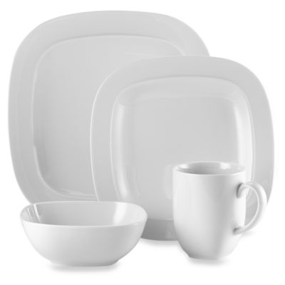 Denby Square 4-Piece Dinnerware Place Setting in White