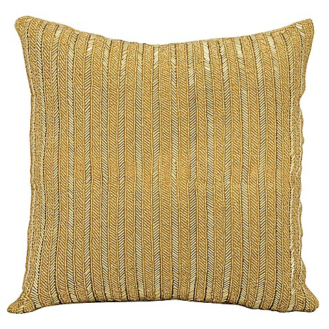 Throw Pillows Matching Curtains : Michael Amini Beaded Stripes Square Throw Pillow - www.BedBathandBeyond.com