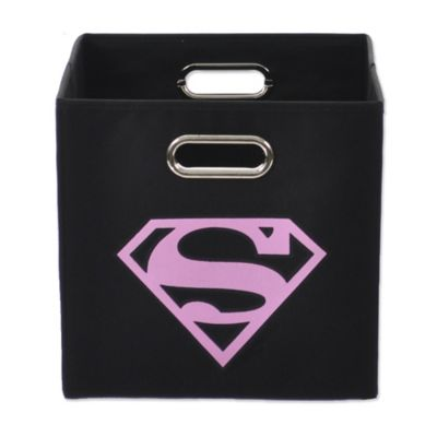 Modern Littles Superman Folding Storage Bin in Pink