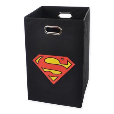 Modern Littles Superman Logo Folding Laundry Basket in Black