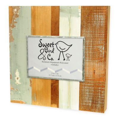 Sweet Bird & Co. 5-Inch x 7-Inch Reclaimed Wooden Photo Frame in Blue Whisper