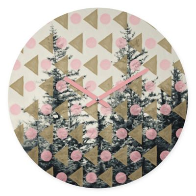 DENY Designs Maybe Sparrow Through the Geometric Trees Round Wall Clock