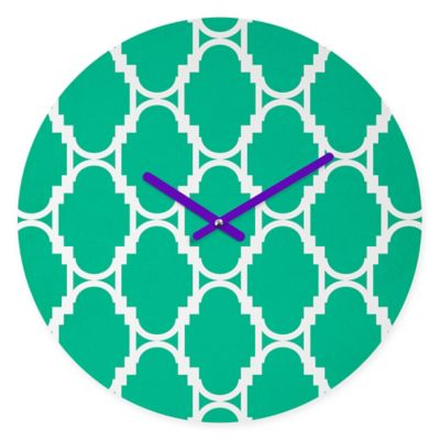 DENY Designs Rebecca Allen Pillow Talk Turquoise Round Wall Clock