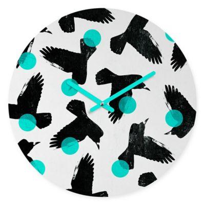 DENY Designs Elisabeth Frediksson Birds II Blue Round Wall Clock