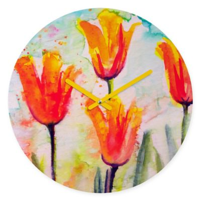 DENY Designs Ginette Fine Art Tulips Bells of Spring Round Wall Clock