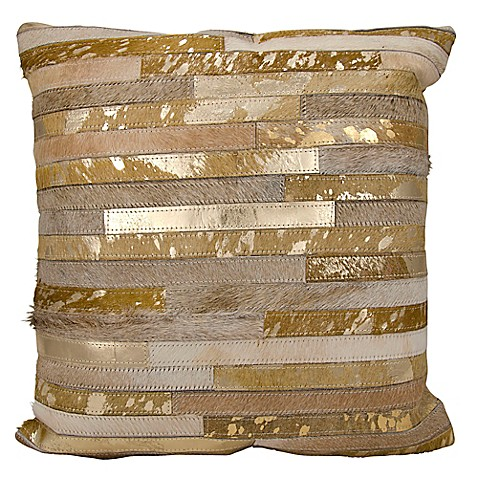 Throw Pillows Matching Curtains : Buy Michael Amini Stripes Square Throw Pillow in Beige from Bed Bath & Beyond