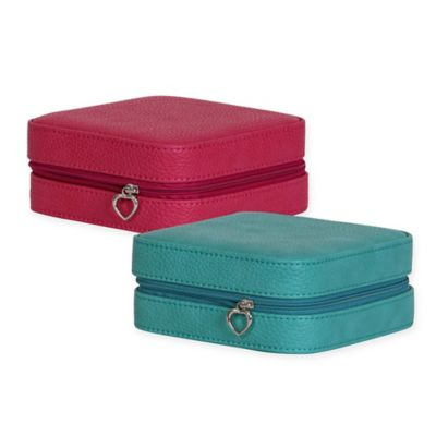 Mele & Co. Josette Faux Leather Travel Jewelry Case in Magenta