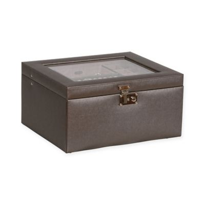 Mele & Co. Linden Glass Top Fashion Jewelry Box in Pewter