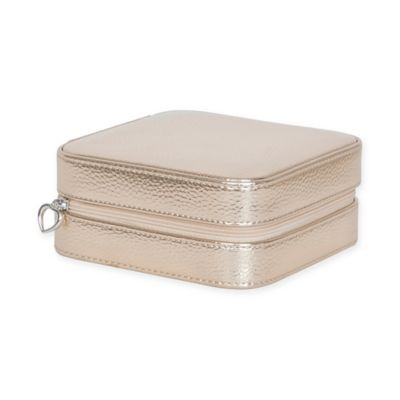 Mele & Co. Luna Metallic Faux Leather Travel Jewelry Case in Gold