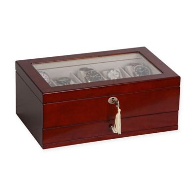 Mele & Co. Christo Glass Top Wooden Watch Box in Walnut
