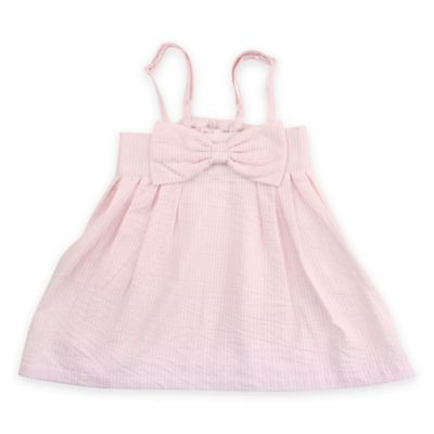 RuffleButts® Size 3-6M Seersucker Bow Dress in Pink