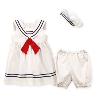 Jayne Copeland Size 3M 3-Piece Nautical Dress with Red Tie, Diaper Cover, and Hat Set in White