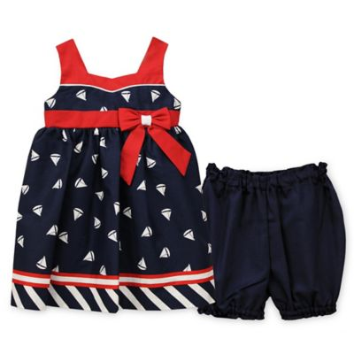 Jayne Copeland Size 3M 2-Piece Boat Print Sleeveless Dress and Diaper Cover Set in Navy/Red
