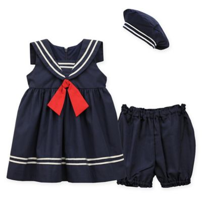 Jayne Copeland Size 3M 3-Piece Nautical Dress with Red Tie, Diaper Cover, and Hat Set in Navy