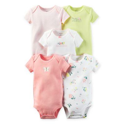 "carter's® Size 18M 5-Pack ""Pretty Perfect"" Babysoft Cotton Short Sleeve Bodysuits"