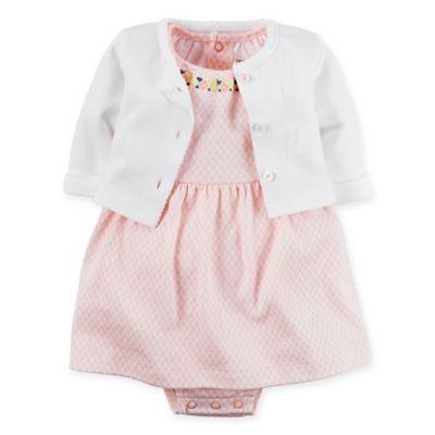 carter's® Newborn 2-Piece Babysoft Embroidered Bodysuit Dress and Cardigan Set in Pink/White
