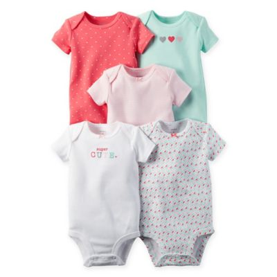 "carter's Newborn 5-Pack Babysoft ""Super Cute"" Bodysuits in Coral/Mint/Pink"