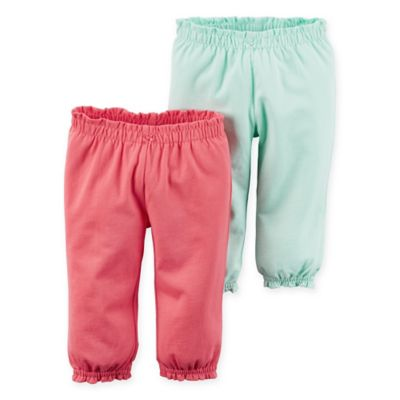 carter's® Size 12M 2-Pack Babysoft Ribbed Cotton Ruffled Pant in Pink/Mint