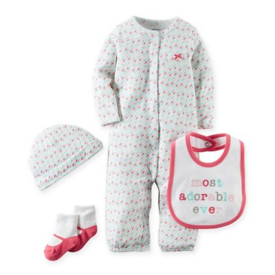 """carter's® Newborn Babysoft """"Most Adorable Ever"""" Take Me Home Set in Pink/White"""