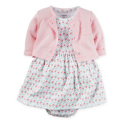 carter's® Newborn 2-Piece Babysoft Geometric Print Bodysuit Dress and Cardigan Set
