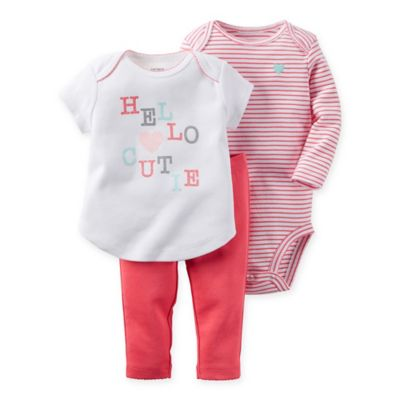 "carter's® Newborn 3-Piece ""Hello Cutie"" Shirt, Pant, and Bodysuit Set in Pink"