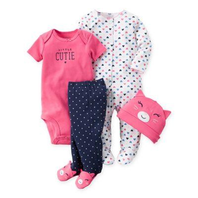 "carter's® Size 9M 4-Piece ""Little Cutie"" Cat Pant, Bodysuit, Footie, and Hat Set in Pink/Navy"