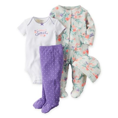 "carter's® Size 3M 4-Piece Babysoft ""Daddy's Sweet Girl"" Bodysuit, Pant, Footie, and Hat Set"