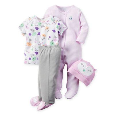 carter's® Size 9M 4-Piece Babysoft Owl Take Me Home Set in Purple/Grey