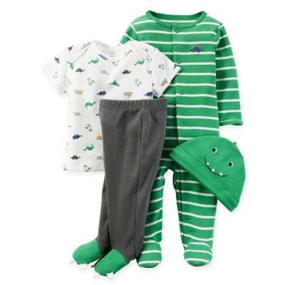 carter's® Size 9M 4-Piece Babysoft Dinosaur Take Me Home Set in Green/Grey