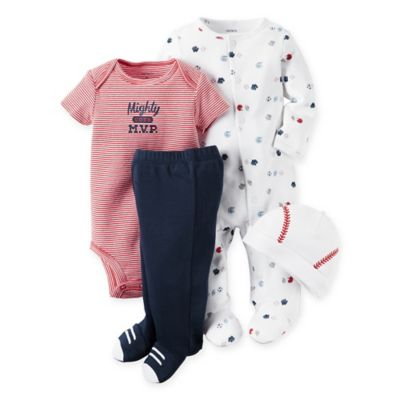carter's® Size 9M 4-Piece Sports Take Me Home Set in White/Red/Blue