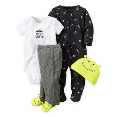 "carter's® Newborn 4-Piece Babysoft ""Out of This World"" Take Me Home Set in Black/Green"