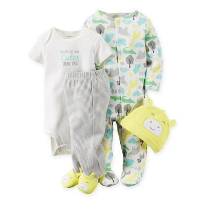 "carter's® Size 3M 4-Piece Babysoft ""Cuter"" Animal Take Me Home Set in Yellow/Aqua"