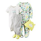 carter's® Size 3M 4-Piece Babysoft  Cuter  Animal Take Me Home Set in Yellow/Aqua