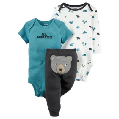 "carter's® Size 9M 3-Piece ""Mr. Adorable"" and Camping Prints Bodysuits and Bear Pant Set"