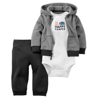 "carter's® Newborn 3-Piece Babysoft ""Happy Camper"" Bodysuit, Hoodie, and Pant Set"
