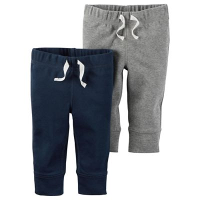carter's® Size 18M 2-Pack Babysoft Ribbed Cotton Cuffed Faux-Drawstring Pant in Navy/Grey